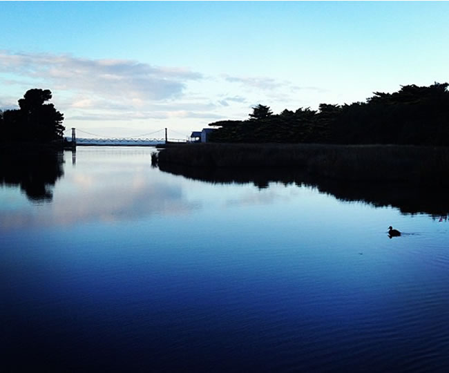 Reflections, in the quiet stillness of the morning, at Lorne, Victoria, Australia