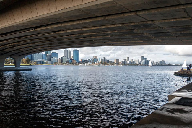 Perth city, seen from under the Narrows Bridge. Western Australia