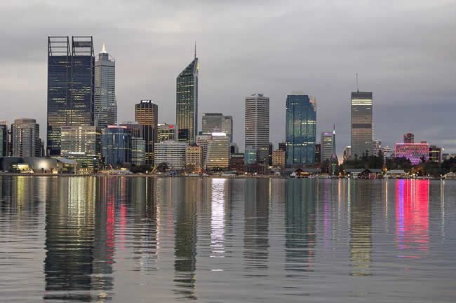 Twilight view of Perth, from across Perth Water. Western Australia