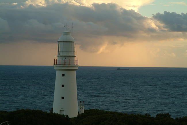 Lonely ship on the Bass Strait, Cape Otway Lighthouse, Great Ocean Road, Victoria, Australia