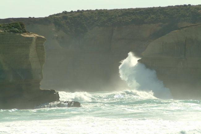 Pounding waves at Sherbrooke Beach, near Port Campbell and the Twelve Apostles, Great Ocean Road, Victoria, Australia
