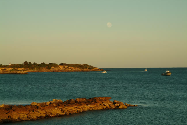 Moon rise over the harbour mouth, Robe, South Australia