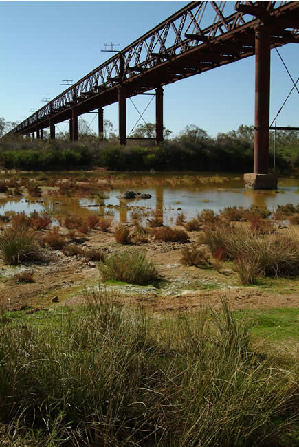 Ruins of a railway bridge, Old Ghan Railway, South Australia