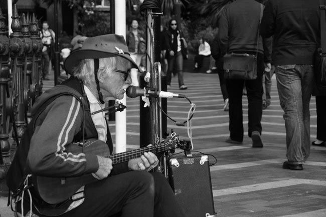 A busker at Circular Quay, Sydney, New South Wales, Australia
