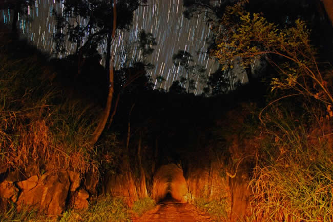 Beautiful night shot, using a time exposure, of the Boolboonda Tunnel, near Mt Perry, Queensland, Australia