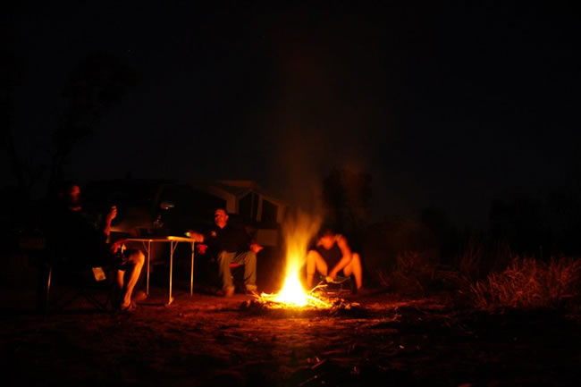 Around the campfire at the Three Way campsite, Northern Territory, Australia
