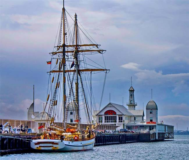 The sail training ship, One And All, at Cunningham Pier, Geelong, Victoria, Australia