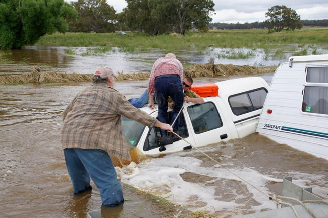 A flood rescue at Newstead, Victoria, Australia