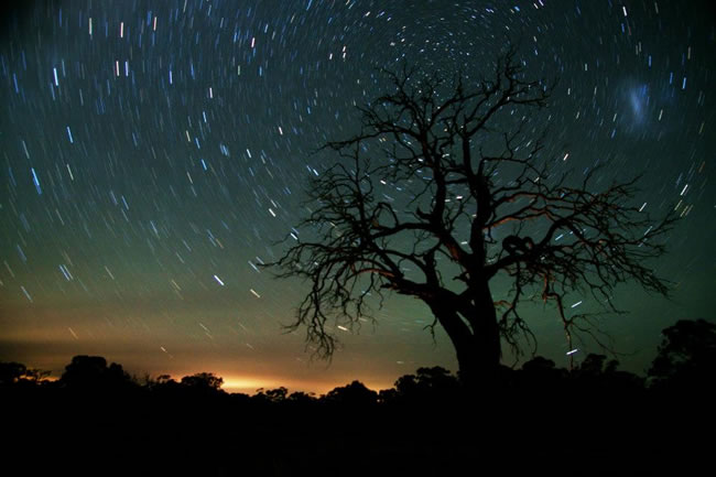 A time exposure of the stars, near Maldon, Victoria, Australia