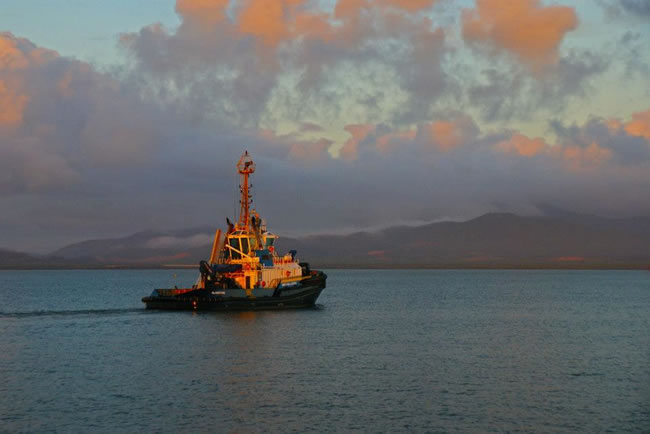Tug on a still morning Gladstone Harbour, Queensland, Australia