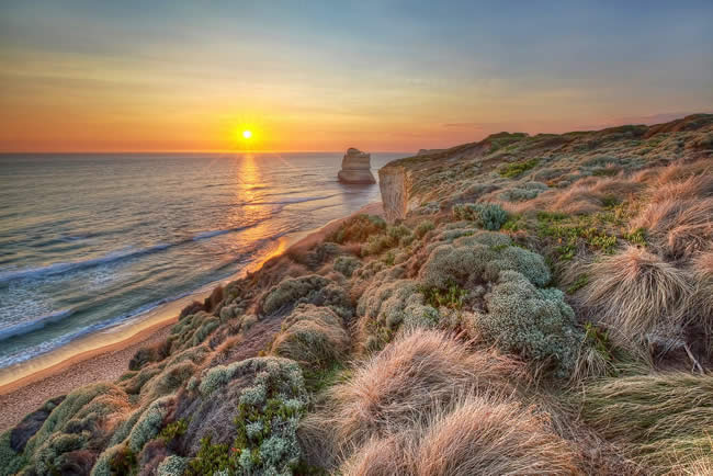 Breathtaking sunset, Gibson's Steps, Twelve Apostles, Great Ocean Road, Victoria, Australia