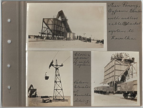 Near Penong, Gypsum Elevator with endless cable bucket system to Kowulka.; Close-up view of cable system.; Return Elevator at Kowulka siding. Parliamentary tour of the Eyre Peninsula, October 9-18, 1926