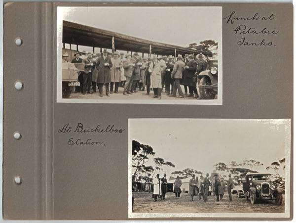 Lunch at Petabie Tanks; At Buckelboo Station. Parliamentary tour of the Eyre Peninsula, October 9-18, 1926