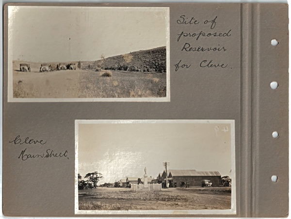 Site of proposed Reservoir for Cleve; Cleve Main Street. Parliamentary tour of the Eyre Peninsula, October 9-18, 1926