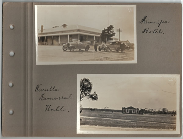 Minnipa Hotel; Wirrulla Memorial Hall. Parliamentary tour of the Eyre Peninsula, October 9-18, 1926