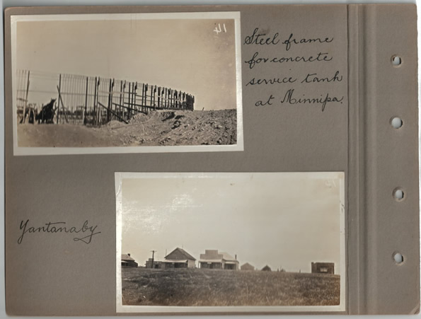Steel frame for concrete service tank at Minnipa; Yantanaby. Parliamentary tour of the Eyre Peninsula, October 9-18, 1926
