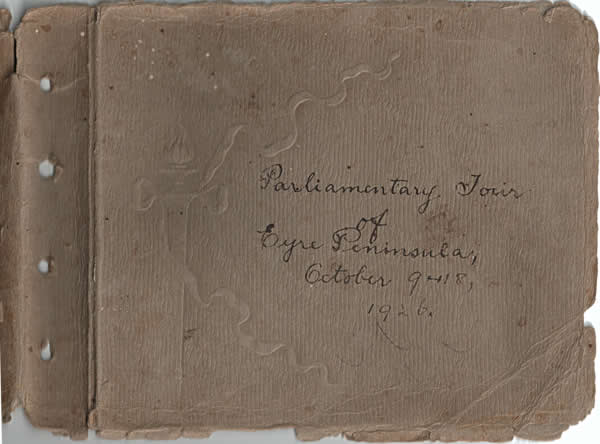 Cover of the historical photo album of the Parliamentary tour of the Eyre Peninsula, October 9-18, 1926