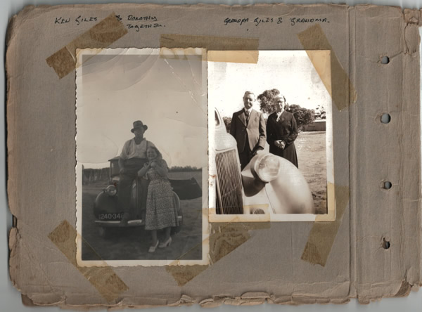 Ken Giles & Dorothy together; Grandpa Giles & Grandma. Inside the front cover of the historical photo album of the Parliamentary tour of the Eyre Peninsula, October 9-18, 1926
