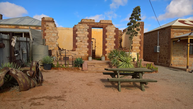 Ruins of an old building between the Mad Max 2 Museum and a cafe, Silverton, New South Wales Australia