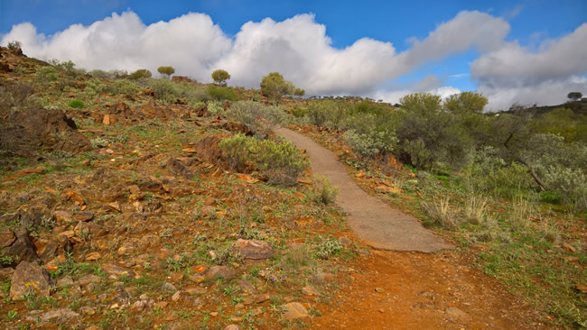 Steep track to the Sculptures, Living Desert, Broken Hill, New South Wales, Australia