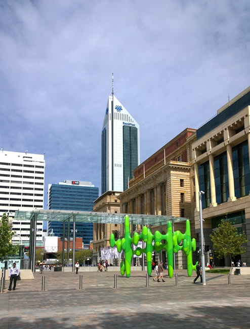 Sculpture 'Grow Your Own', in Forrest Place, Perth, Western Australia