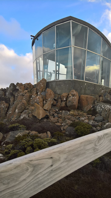 Enclosed glass lookout on the summit of Mt Wellington, Tasmania, Australia