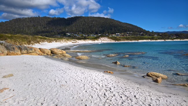 Redbill Beach, at Bicheno, on the east coast of Tasmania, Australia
