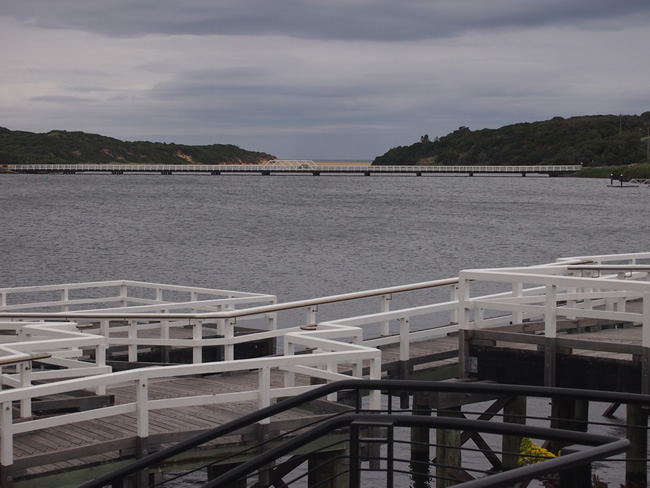 Hopkins Point Rd Bridge, from Proudfoots Boathouse, Warrnambool, Victoria, Australia