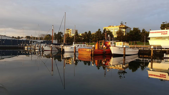 Fishing boats on a quiet morning, Geelong, Victoria, Australia