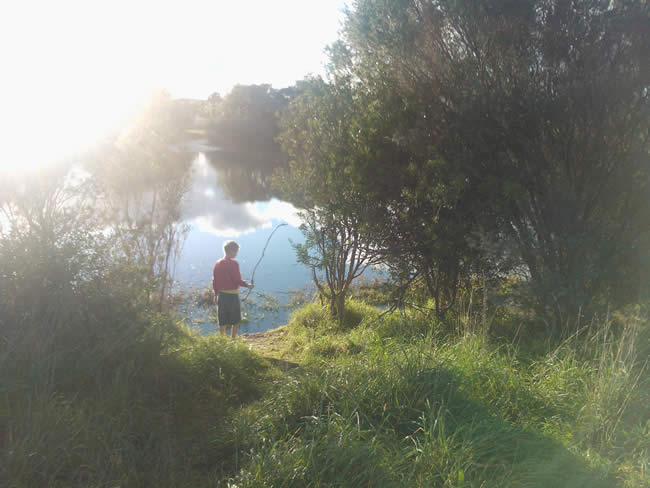 Small boy just enjoying himself. Augustine's Dam, Highton, Geelong, Australia
