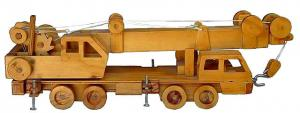 "Realistic Wooden Toy ""Nippon Crove"" Mobile Crane in driving position"