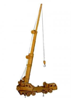 "Realistic Wooden Toy ""Nippon Crove"" Mobile Crane in upright position with boom fully extended"