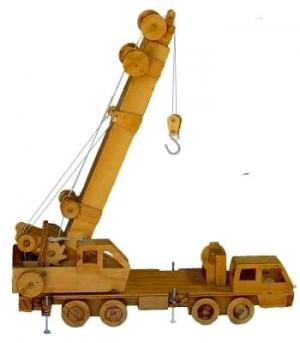 "Realistic Wooden Toy ""Nippon Crove"" Mobile Crane in upright position with boom not extended"