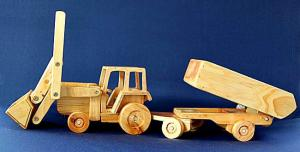 Farm Tractor with Front-end loader & tipping Trailer set.